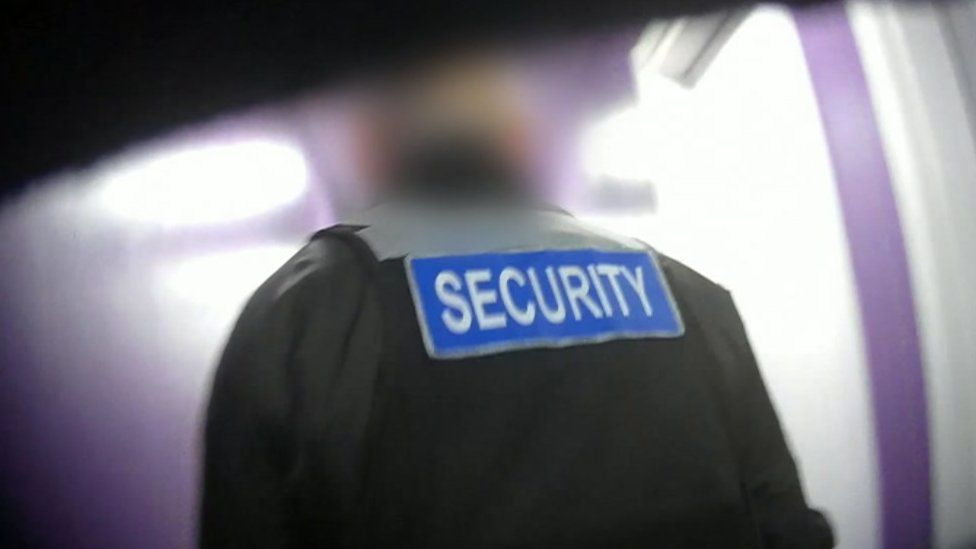Security man inside the building