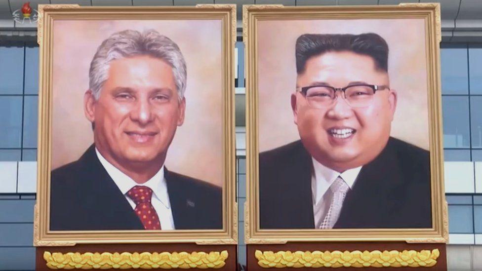 Cuban President Miguel Díaz-Canel and Kim Jong-un