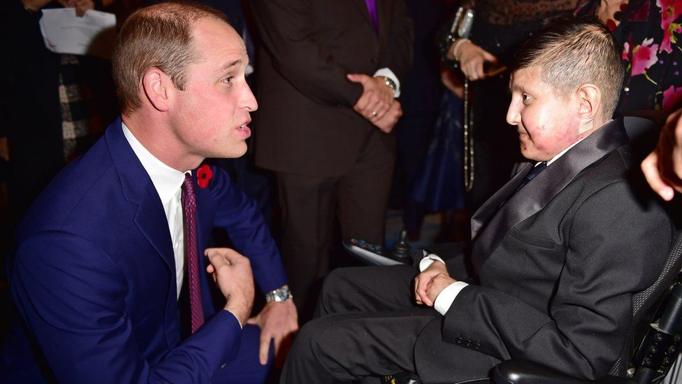 Duke of Cambridge greeting Moin Younis at the Pride of Britain Awards in 2017