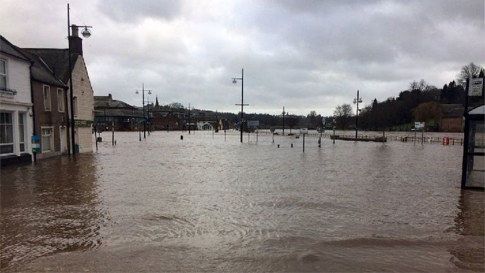 Flooded car park in Dumfries