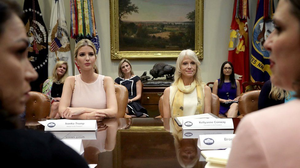 Ivanka Trump (L) and White House aide Kellyanne Conway appear in Washington in August.