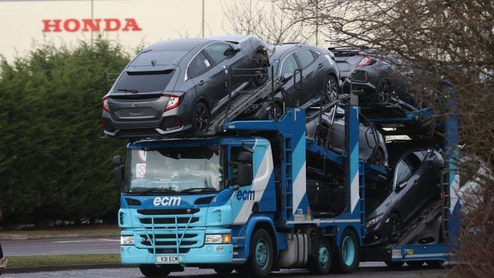 Car transporter leaving the Swindon Honda plant
