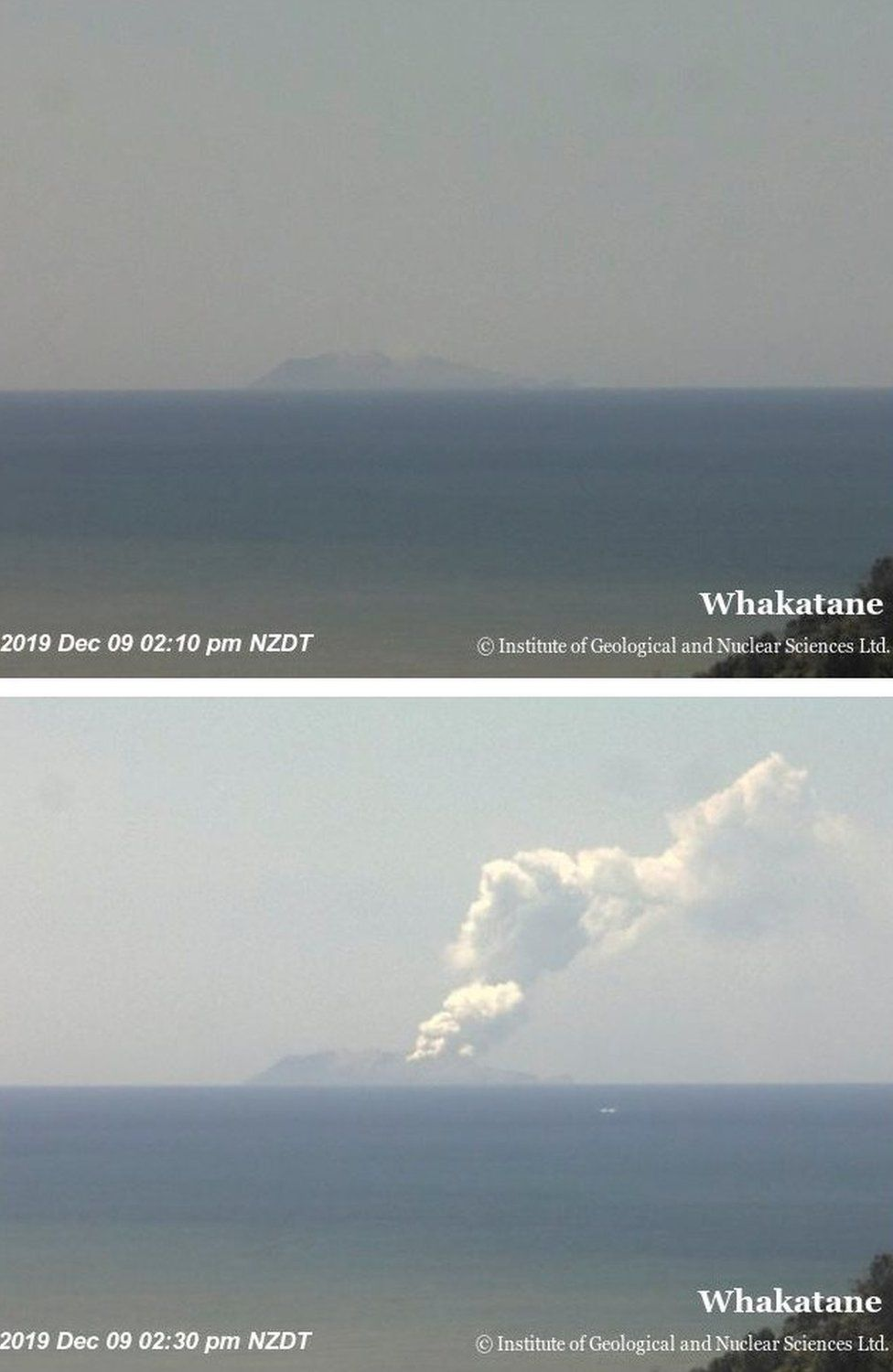 Combination photo shows Whakaari, also known as White Island, volcano shortly before and after eruption