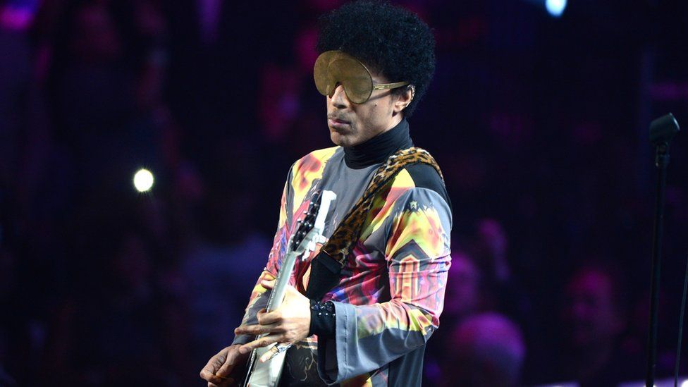 Prince on stage in Las Vegas in 2012