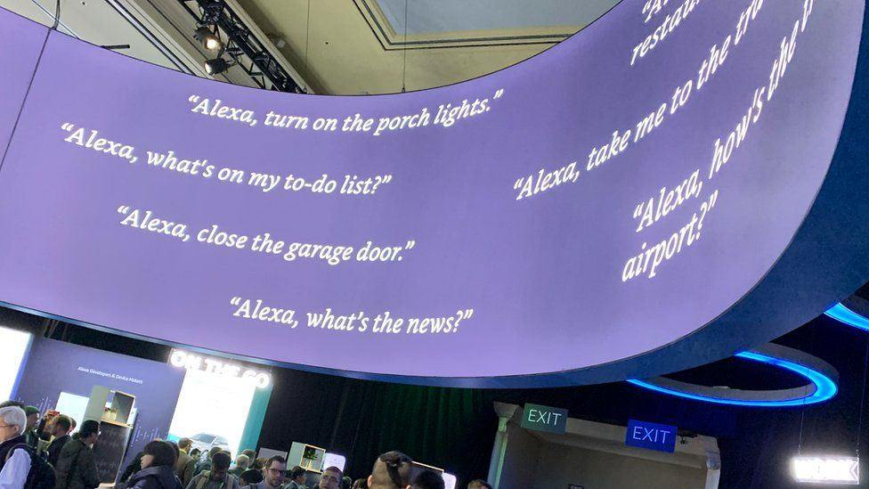 Example Alexa commands on display at CES