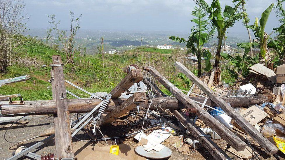 A wrecked electricity pylon in Puerto Rico