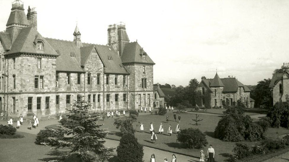 The central building at Quarrier's village in the 1920s