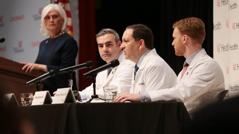 Daniel Kanter (C) of the University of Cincinnati Medical Center speaks during a press conference regarding the condition of Otto Warmbier at the hospital in Cincinnati, Ohio, USA on 15 June 2017.