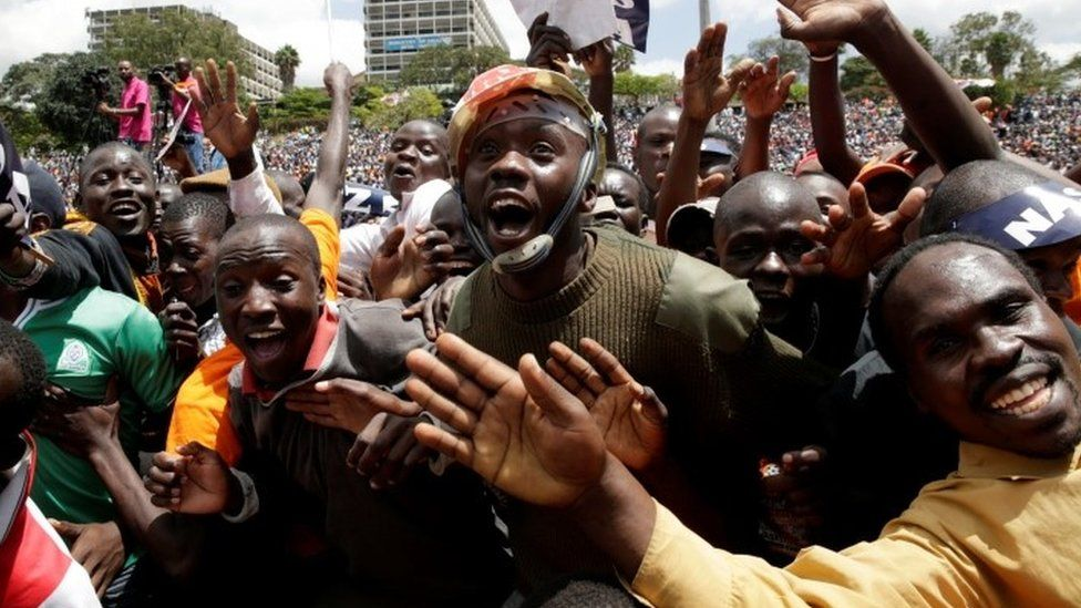 Supporters of Kenyan opposition National Super Alliance (NASA) coalition