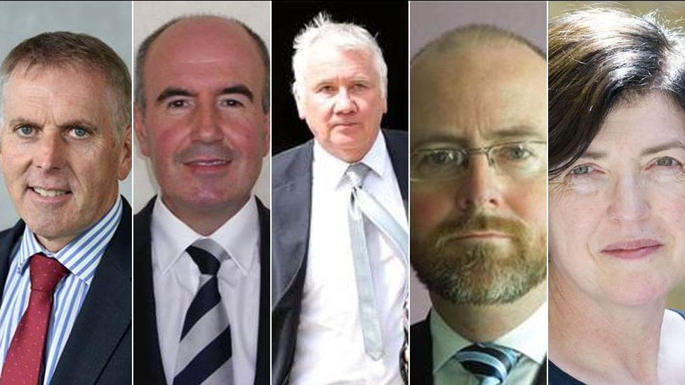 The working groups will be led by, (from left), David Sterling; Paul Sweeney; Sir Malcolm McKibbin; Hugh Widdis and Sue Gray