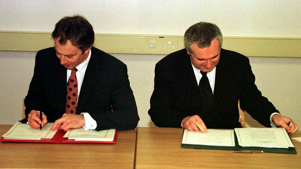 Tony Blair and Bertie Ahern signing the Good Friday Agreement