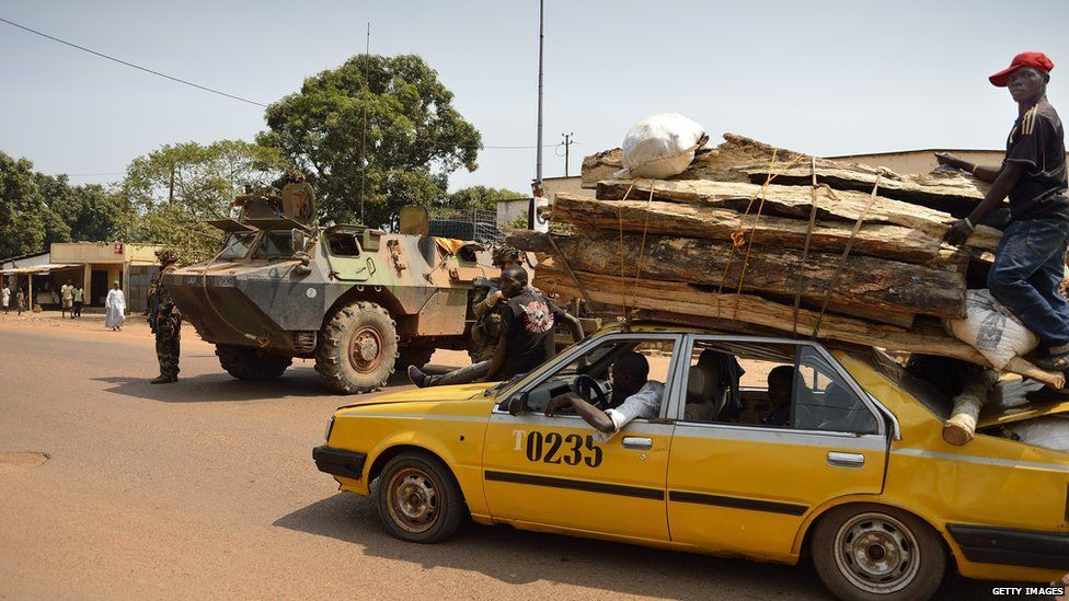 timber being transported through the capital Bangui