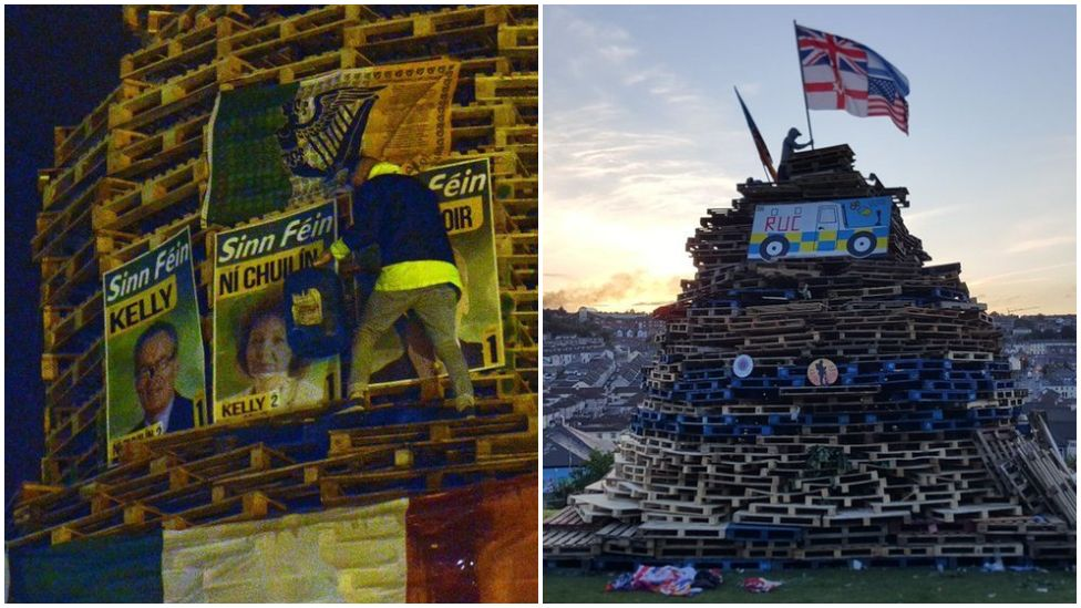 Flags and emblems on bonfires in Northern Ireland