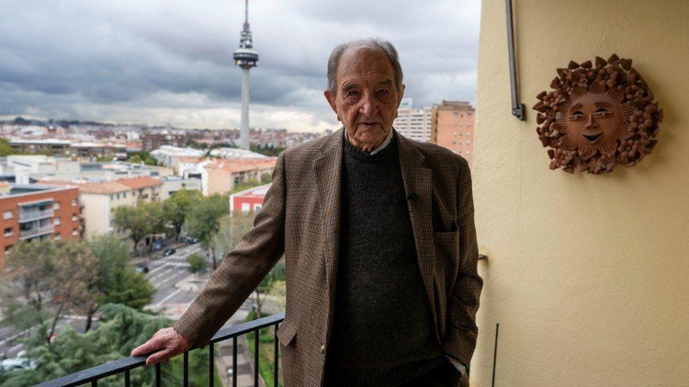 Nicolas Sanchez Albornoz, ex-prisoner of the Franco regime who escaped during the construction of the Valle de los Caidos (Valley of the Fallen) where he was as a prisoner