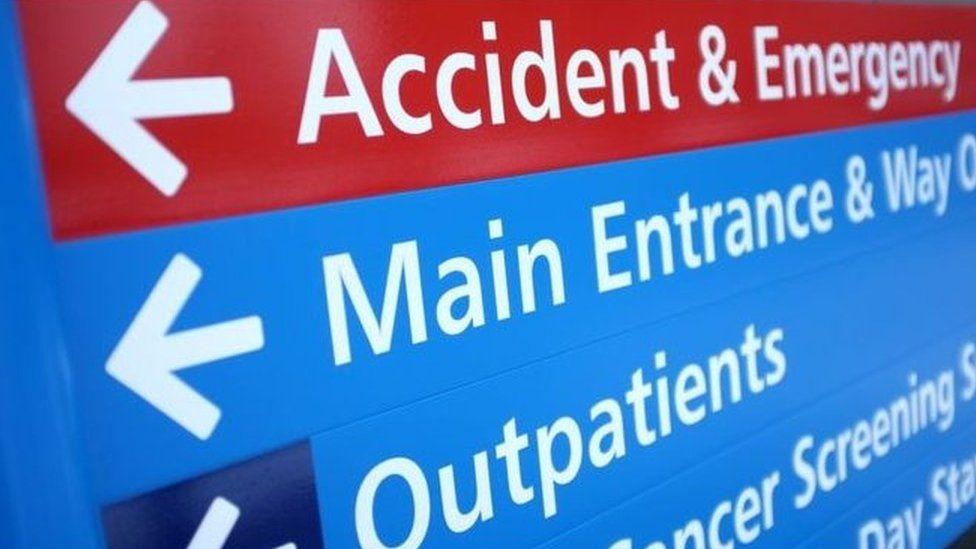 Hospital accident and emergency sign
