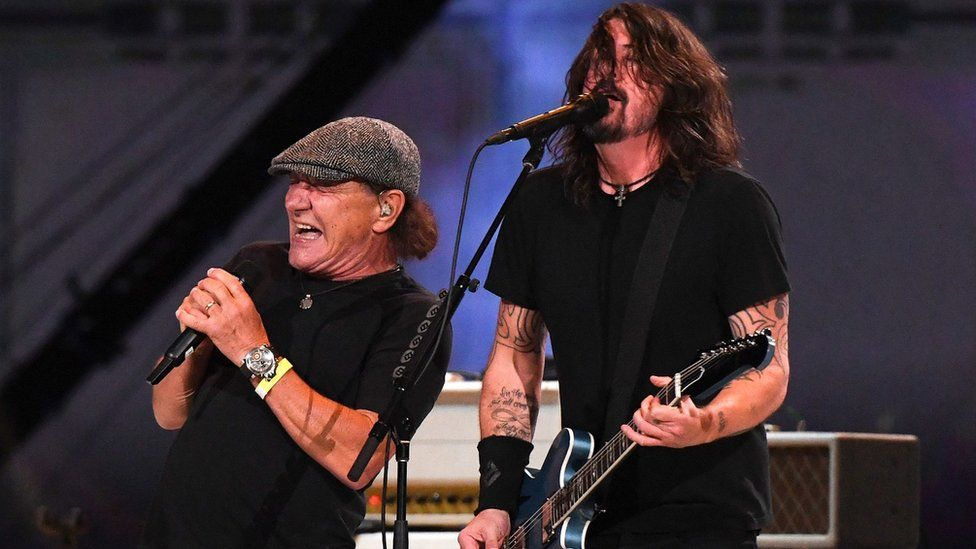 Foo Fighters' Dave Grohl performs Back in Black with Brian Johnson of AC/DC