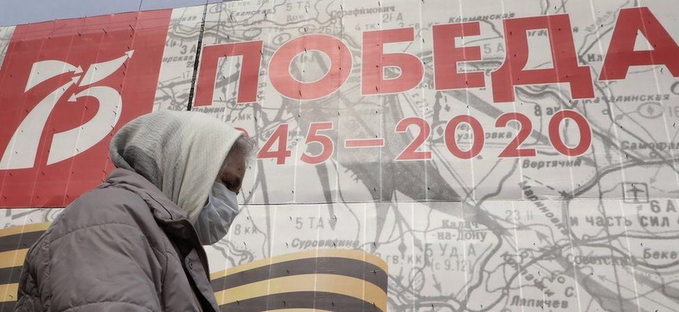 "A poster in Moscow reads ""Victory 1945-2020"""