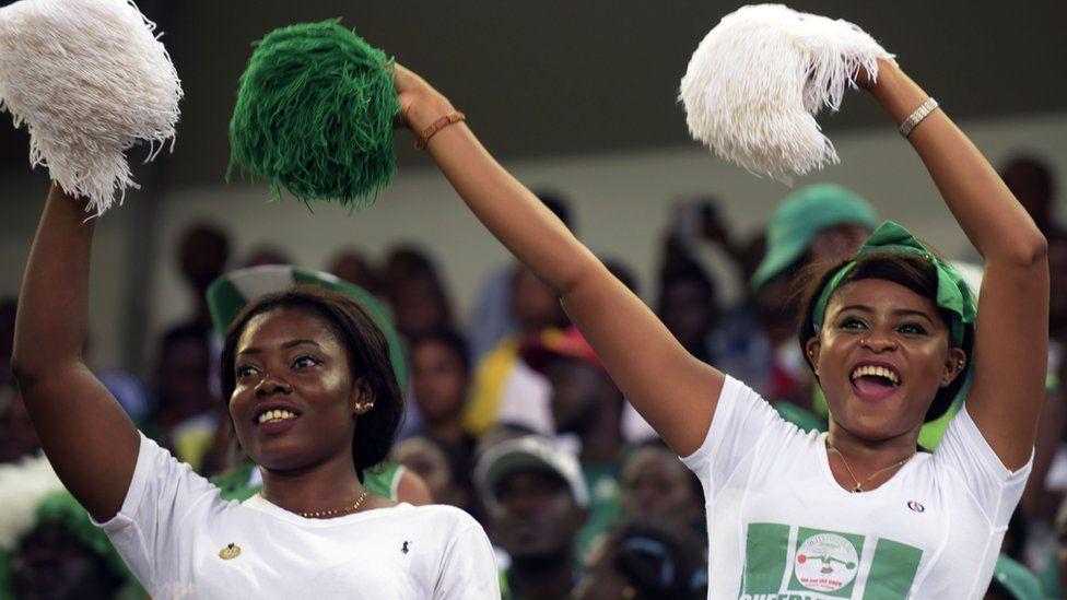 Nigerian cheerleaders on footballers in Uyo, Akwa Ibom state, Nigeria - Saturday 3 September 2016