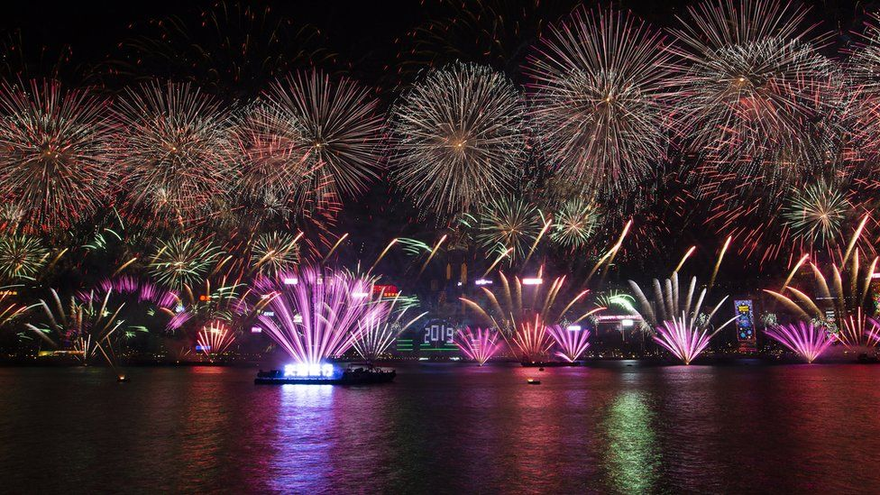 Fireworks light up Hong Kong's iconic skyline as revellers celebrate the arrival of 2019, in China, 1 January 2019