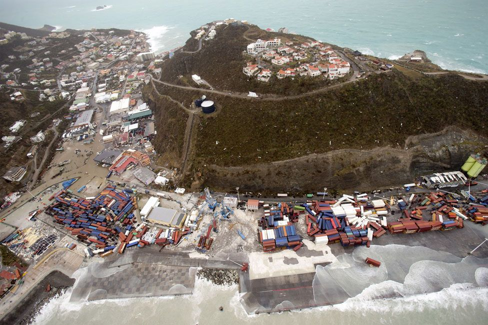 Aerial photography taken by the Dutch Department of Defensc on 6 September 2017 shows the damage of Hurricane Irma in Philipsburg