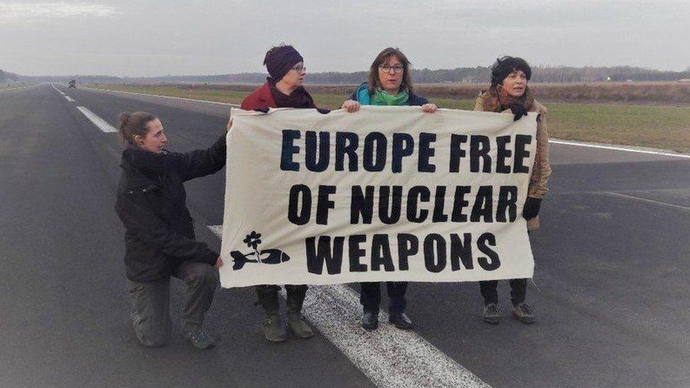 Protesters at Belgian air base
