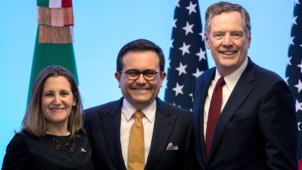 The Canadian, Mexican and US main representatives at the Nafta talks