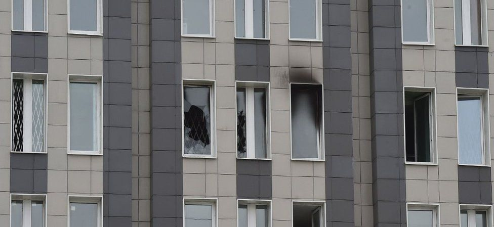 Fire-damaged windows. 12 May 20