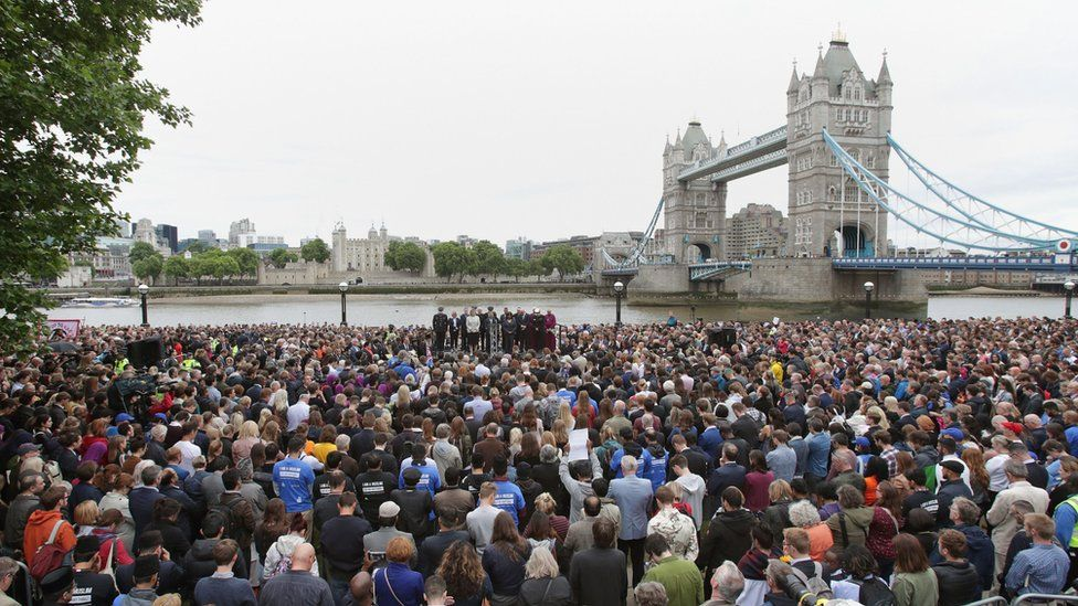 Mayor of London Sadiq Khan, Home Secretary Amber Rudd and Shadow Home Secretary Diane Abbott with members of the public at a vigil in Potters Fields Park, central London