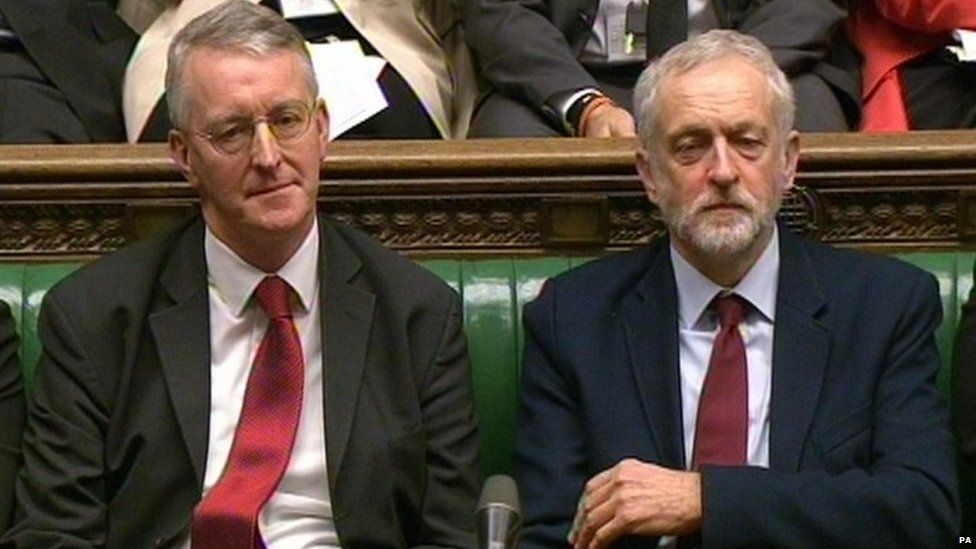 Hilary Benn sitting next to Jeremy Corbyn during David Cameron's statement on EU renegotiations