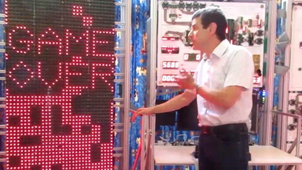 Mr Newman demonstrating Tetris on the mega processor