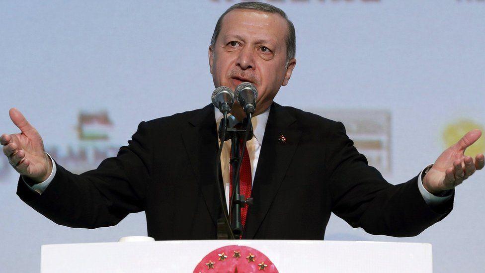 Turkey's President Recep Tayyip Erdogan addresses a business meeting in Istanbul on 9 November 2016