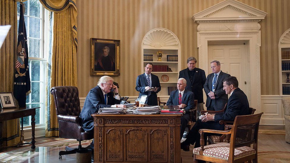 Flynn (far right) is seen during a presidential call with Russia's Vladimir Putin in 2017