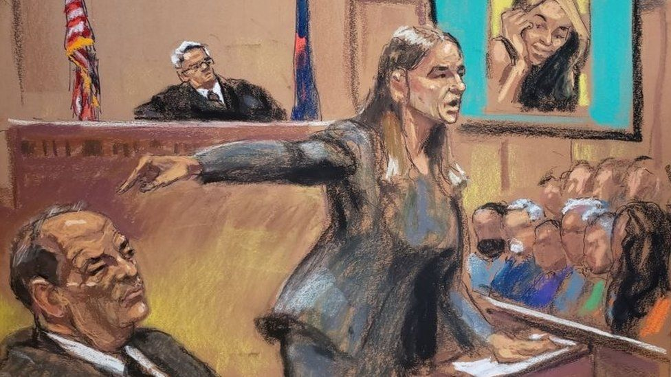 Sketch showing Assistant District Attorney Meghan Hast pointing at Harvey Weinstein during his sexual assault trial