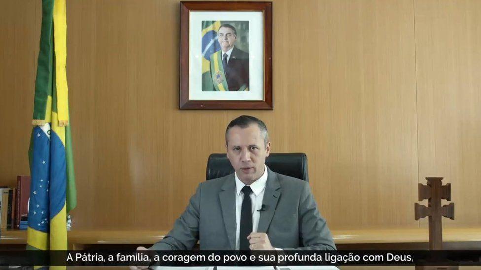 A screen grab of the speech by Brazil's culture secretary