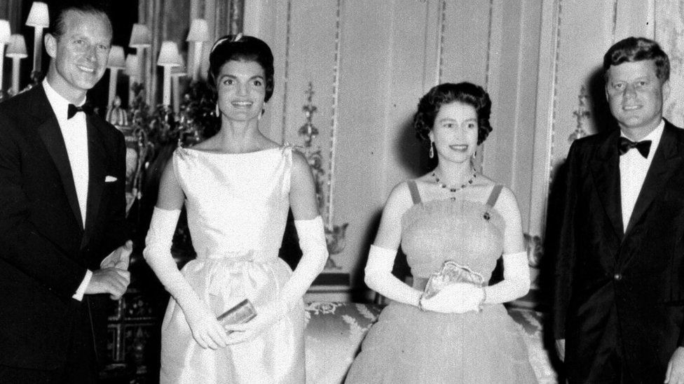 American President John F Kennedy and his wife Jacqueline pictured with the Queen and the Duke of Edinburgh in May 1961 at Buckingham Palace