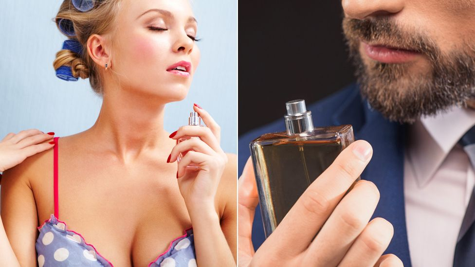 Woman and man spraying perfume