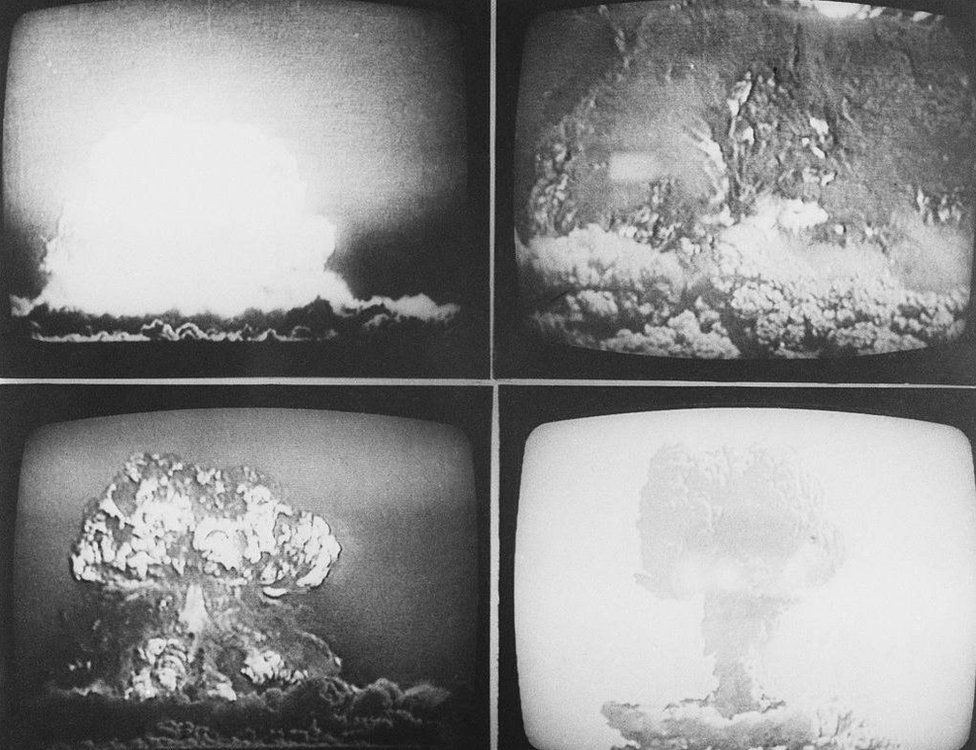 Multiple images of China's third nuclear test on May 9, 1966. TBS, the Tokyo Broadcasting System, televised the three nuclear tests conducted between October 16, 1964, and May 9, 1966. This footage was produced by China's state-run movie company, The Victory of Chairman Mao.