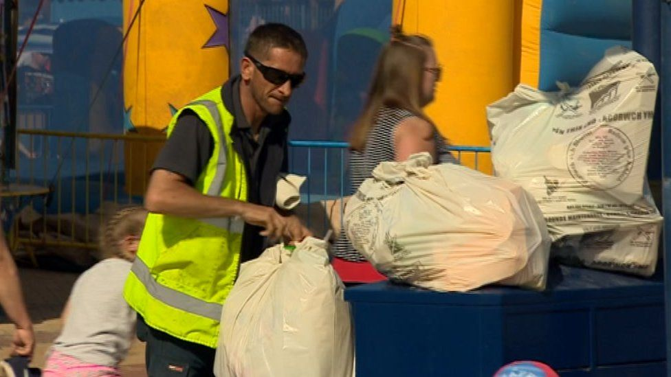 Council staff were emptying bins regularly at the beach