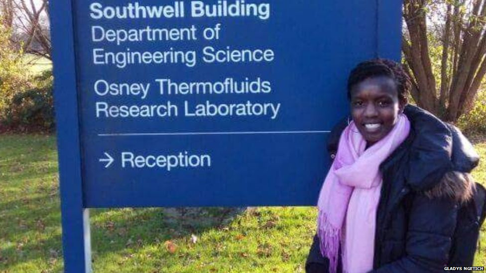 Gladys Ngetich outside her lab in Oxford