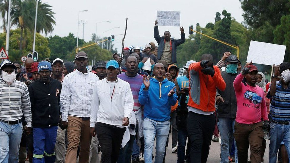 SA nationals march through city in protest against foreigners