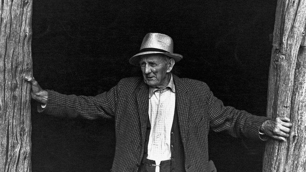 Amos Oke, a retired farmer at Deckport near Hatherleigh in 1977