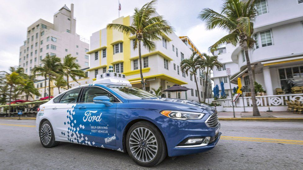 Ford's self-driving test vehicle on the streets of Miami