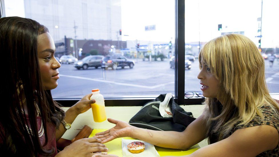 Mya Taylor (left) and Kitana Kiki Rodriguez play Alexandra and Sin-Dee in Tangerine