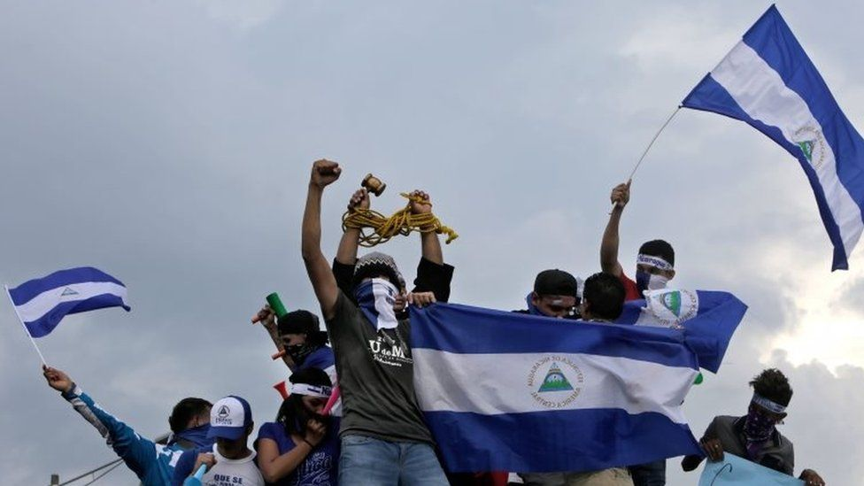 Anti-government demonstrators stage a protest demanding Nicaraguan President Daniel Ortega and his wife, Vice President Rosario Murillo, to stand down, in Managua in May 2018