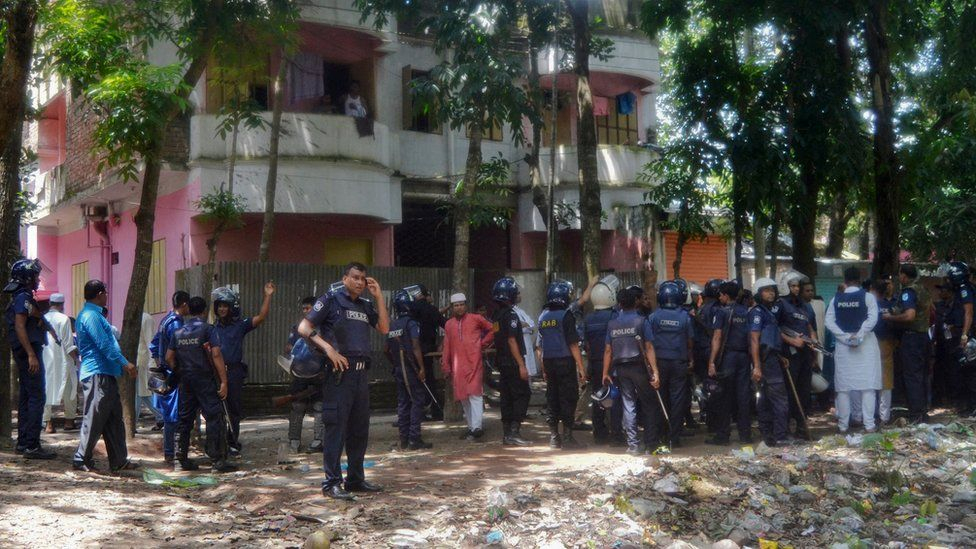 Bangladeshi policemen arrive near the scene of a blast in Kishoreganj, about 90 kilometers (60 miles) north of the capital of Dhaka, Bangladesh, Thursday, July 7, 2016
