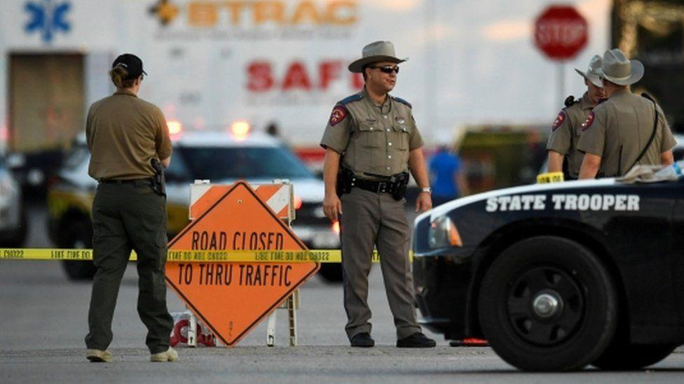 Scene near attacked church in Texas