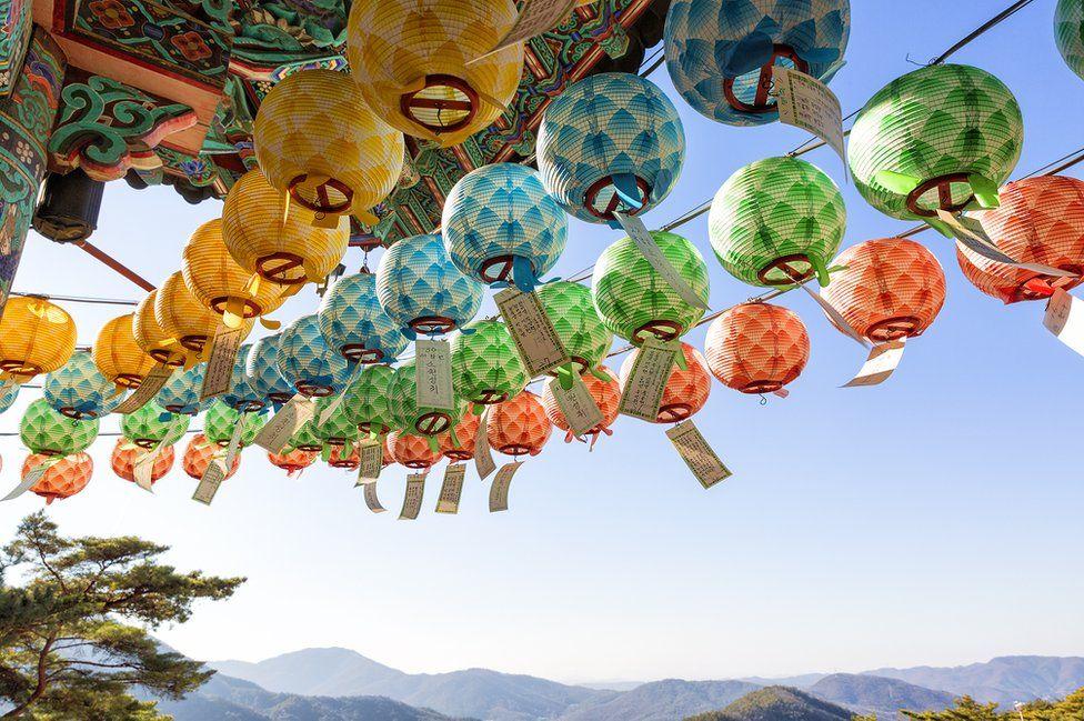 Colourful prayer lanterns