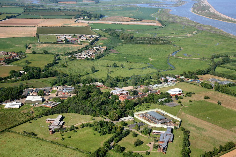 Aerial view of HMP Hollesley Bay
