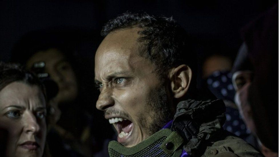 This file photo taken on July 13, 2017 shows Venezuelan police officer Oscar Perez participating in an anti-government protest in Caracas on July 13, 2017.