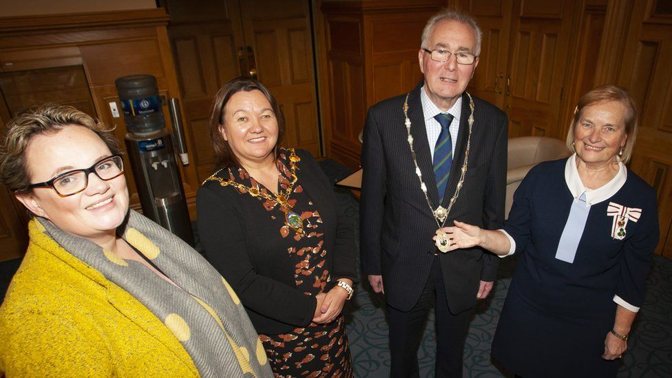 The Mayor of Derry City and Strabane District Council, Cllr Michaela Boyle pictured with the new High Sheriff of Derry City, Richard Doherty at his installation at the Mayor's Parlour, Guildhall this afternoon. Also included from left is Julia Keys, Outgoing High Sheriff, and on right, Dr. Angela Garvey, Lord Lieutenant of the County Borough of Londonderry